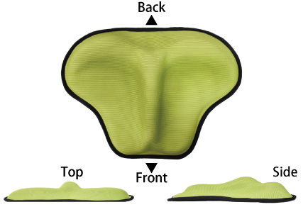 3-D form to fit the pelvic floor muscles. Moderately soft gel protrusion gently stimulates the muscles when sitting on the cushion as moderate training.