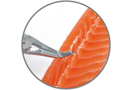 经过特殊设计的弯曲尖端可将鱼肉压下,并易于去除鱼刺,使鱼肉保持完整。